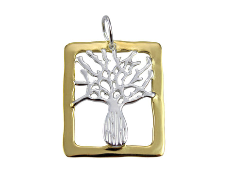 Boab Tree Pendant  Silver Gold Rim Rectangle