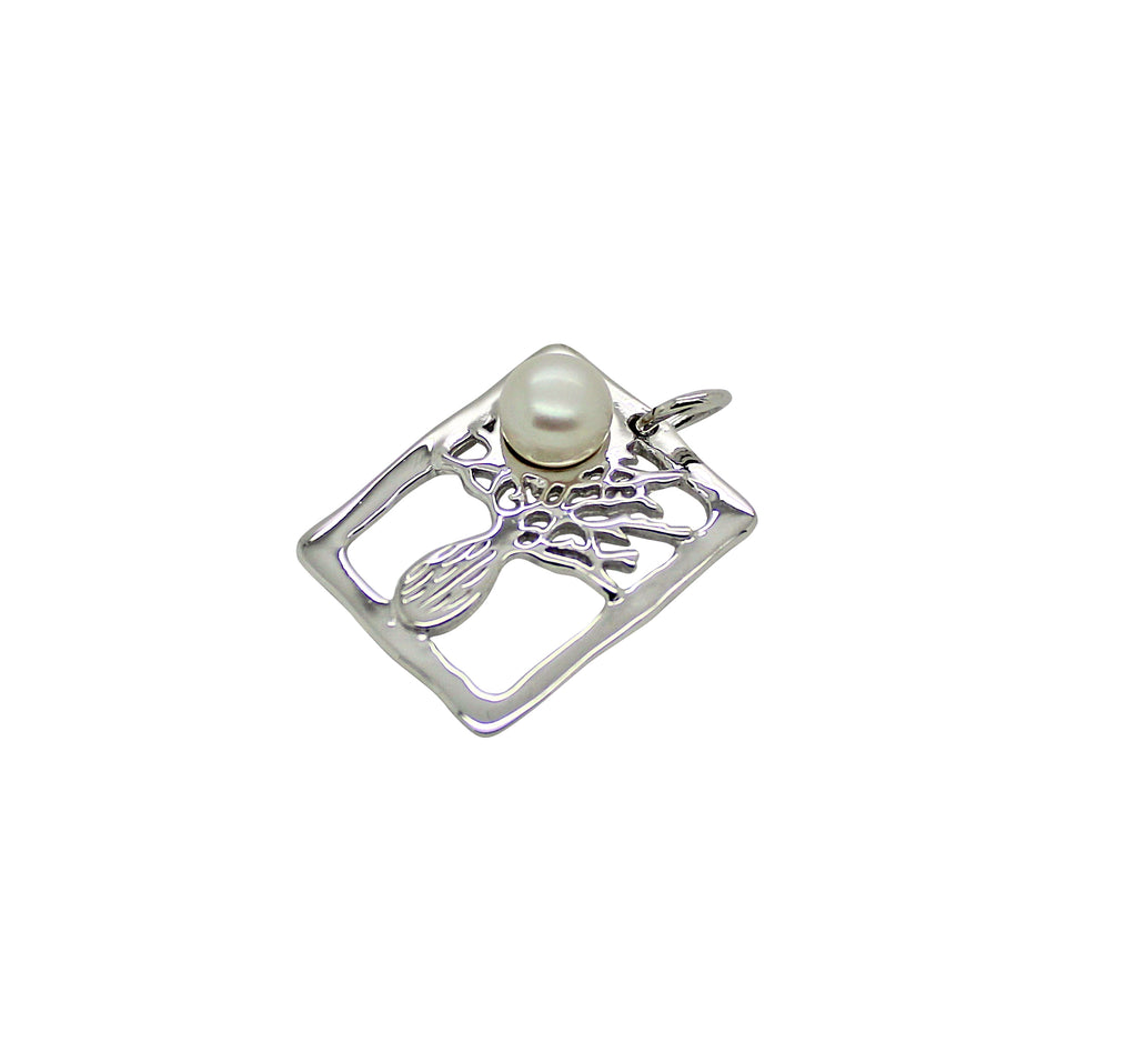 Boab Tree Pendant Silver Pearl Rectangle