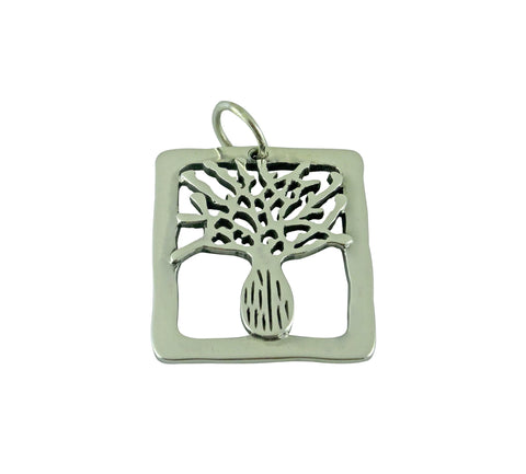 Boab Tree Pendant Silver Rectangle