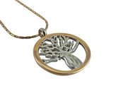 Boab Tree Pendant  - Two Tone Silver / Rose Gold
