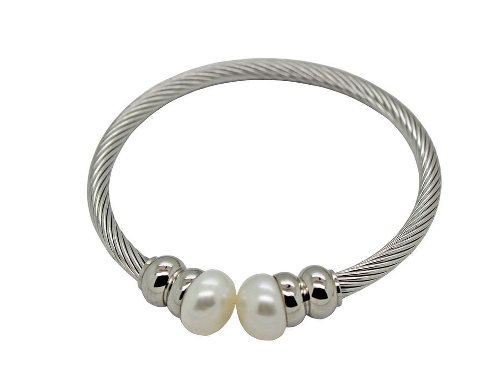 Bangle Steel Freshwater Pearl