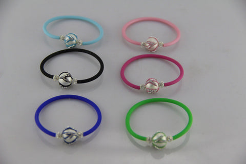Childrens Stretch Cubic Zirconia Silicone Bracelet