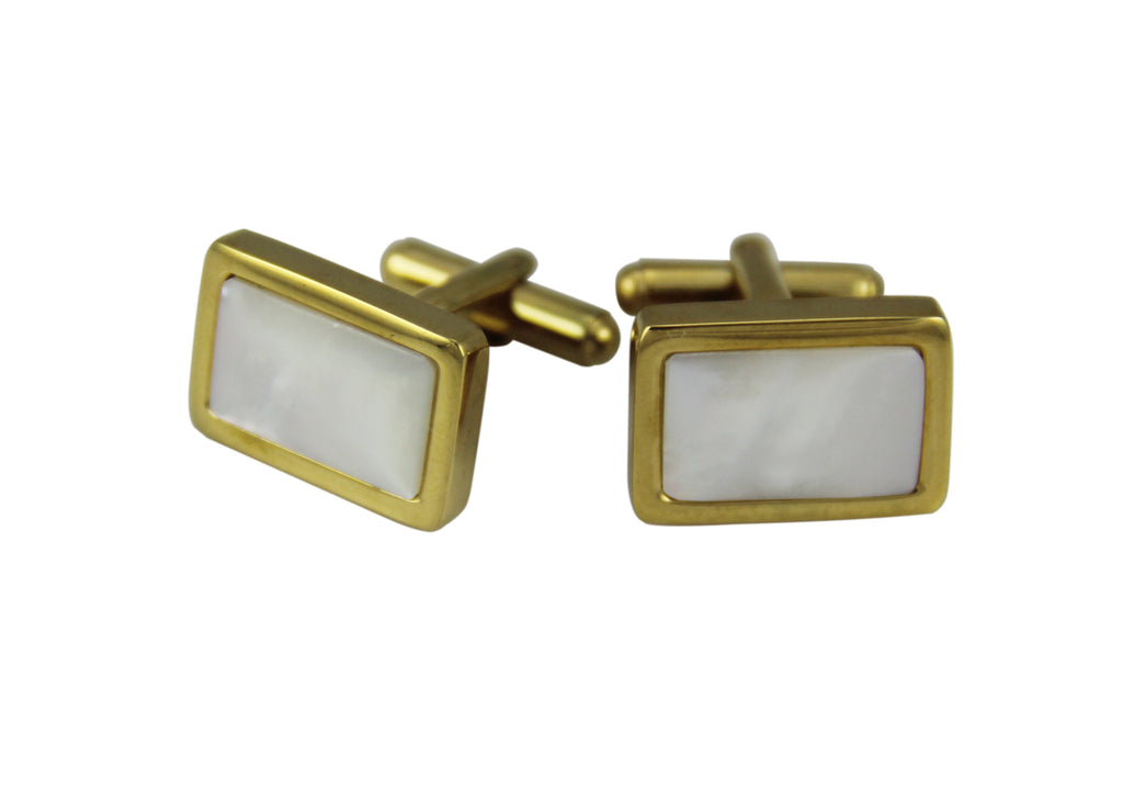Cuff Links Rectangle Gold - Pearl Shell Inlay
