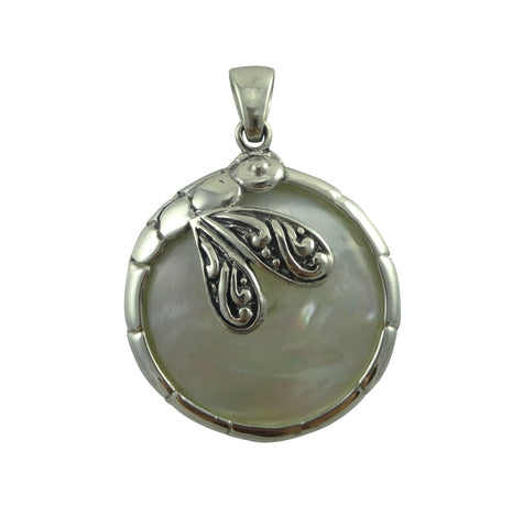 Dragonfly Two Sided Mother of Pearl Shell Pendant