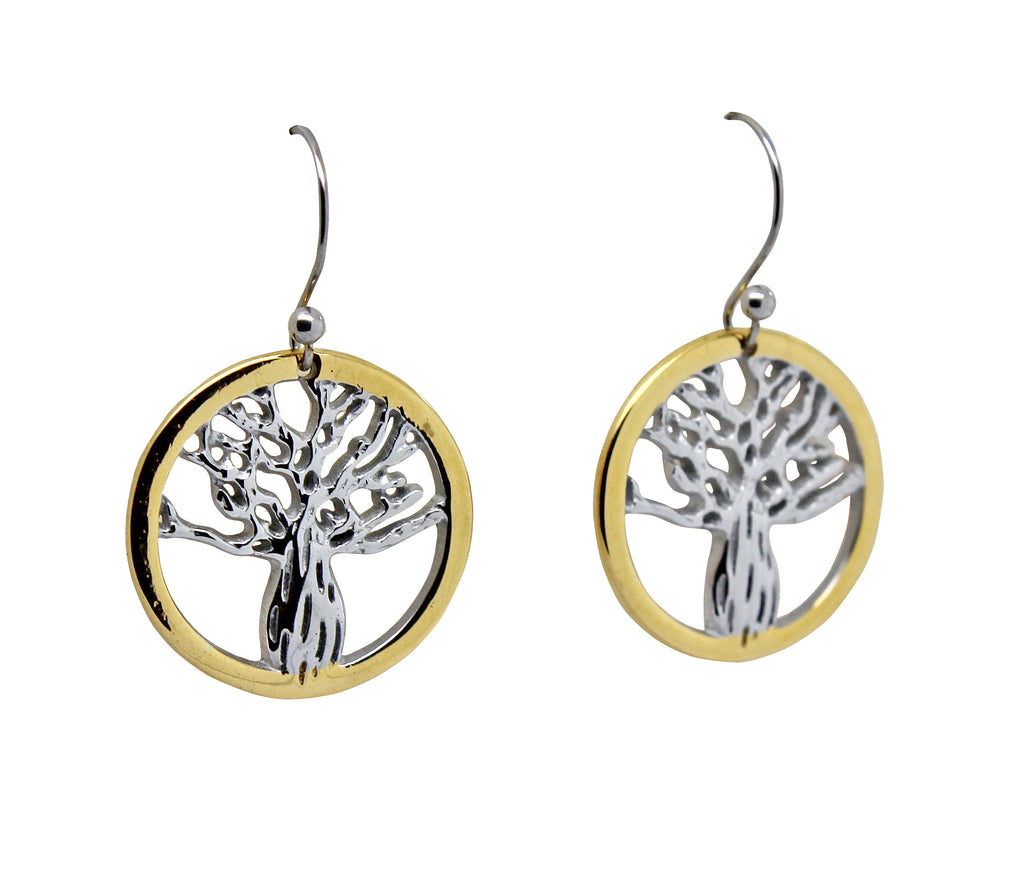 Boab Tree Earrings- Yellow Gold