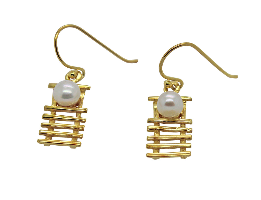 Staircase Pearl Earrings Gold