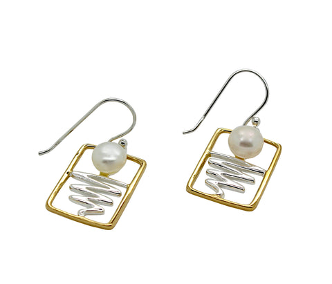 Staircase to the Moon Earrings Rectangle Gold Edge