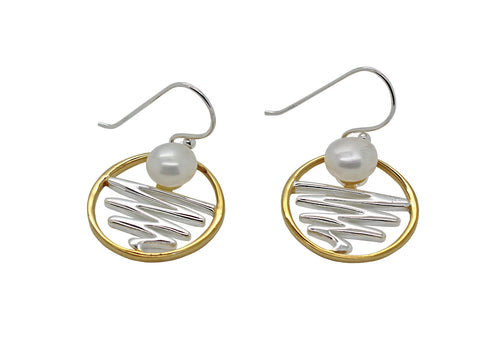 Staircase to the Moon Earrings Round Gold Edge