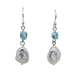 Keshi Pearl Larimar Drop Earrings