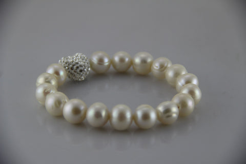 Baroque Freshwater Pearl Bracelet centred with CZ Heart