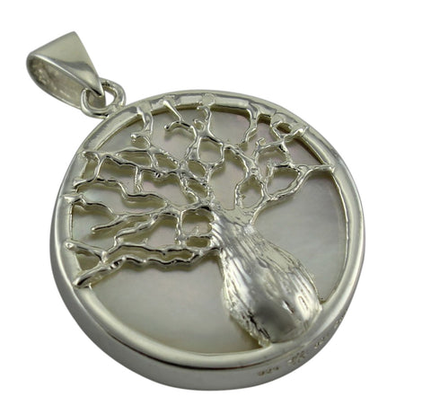 Reversible Boab Tree Mother of Pearl Pendant - Large