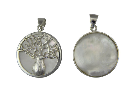 Reversible Boab  Tree Mother of Pearl Pendant - Sm