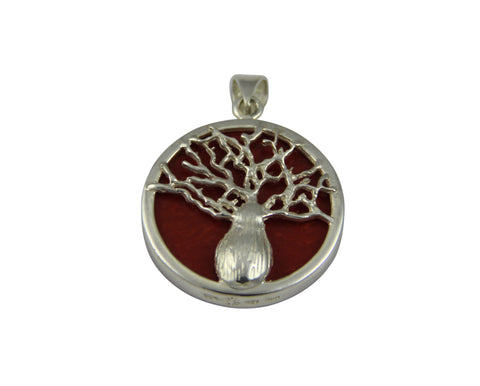 Reversible Boab Tree Pendant - Red Coral