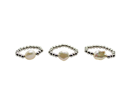 Stretch Silver and Freshwater Keshi Pearl Ring