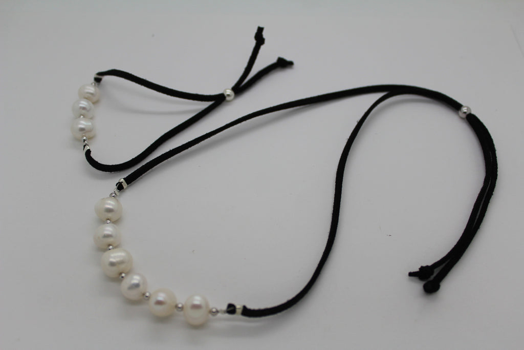 Leather Pearl Adjustable Necklace