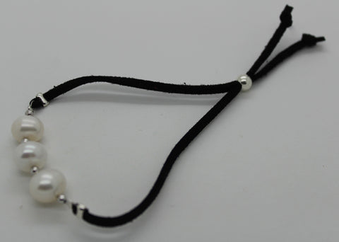 Leather Pearl Adjustable Bracelet