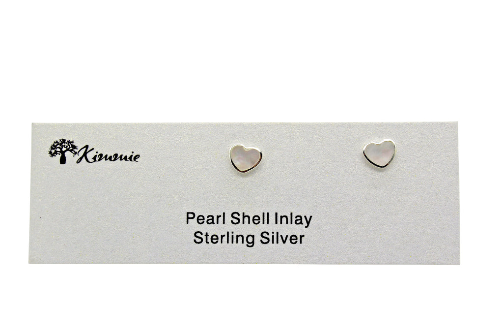 Pearl Shell Inlaid Heart Studs