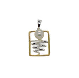 Staircase to the Moon Pendant Rectangle Gold Edging