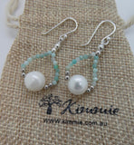 Earrings, Freshwater Pearl / Amazonite Stone Circle