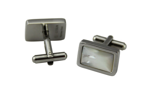 Cuff Links Rectangle - Pearl Shell Inlay