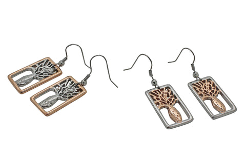 Boab Tree Rectangle Earrings- Two tone rose gold / Steel