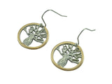 Boab Tree Earrings- Round Steel / Rose Gold / Gold