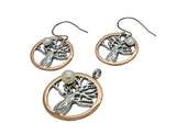 Boab Tree Pearl Earrings- Two tone rose gold / Steel / Gold