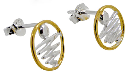 Staircase to the Moon Studs Gold Rim