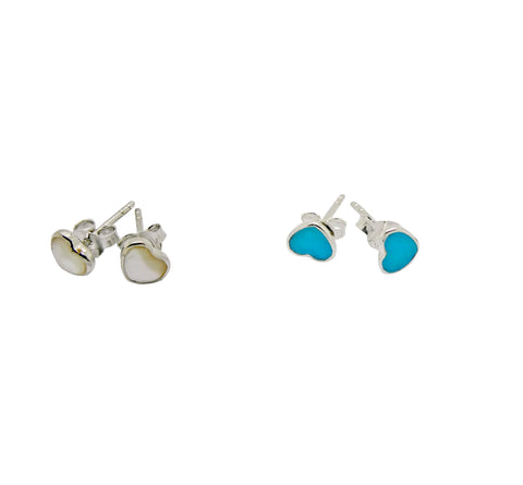 Pearl Shell Inlaid or Turquoise Heart Studs