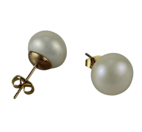 Freshwater Pearl Studs Rose Gold Fittings - 12mm