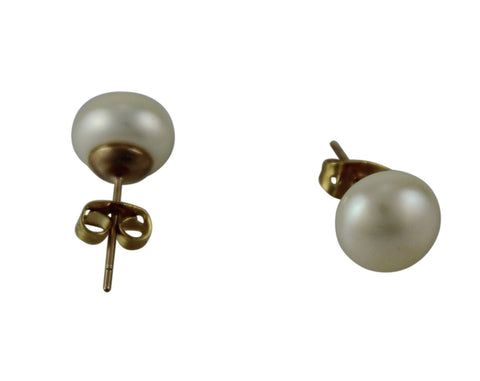 Freshwater Pearl Studs Rose Gold Fittings - 10mm
