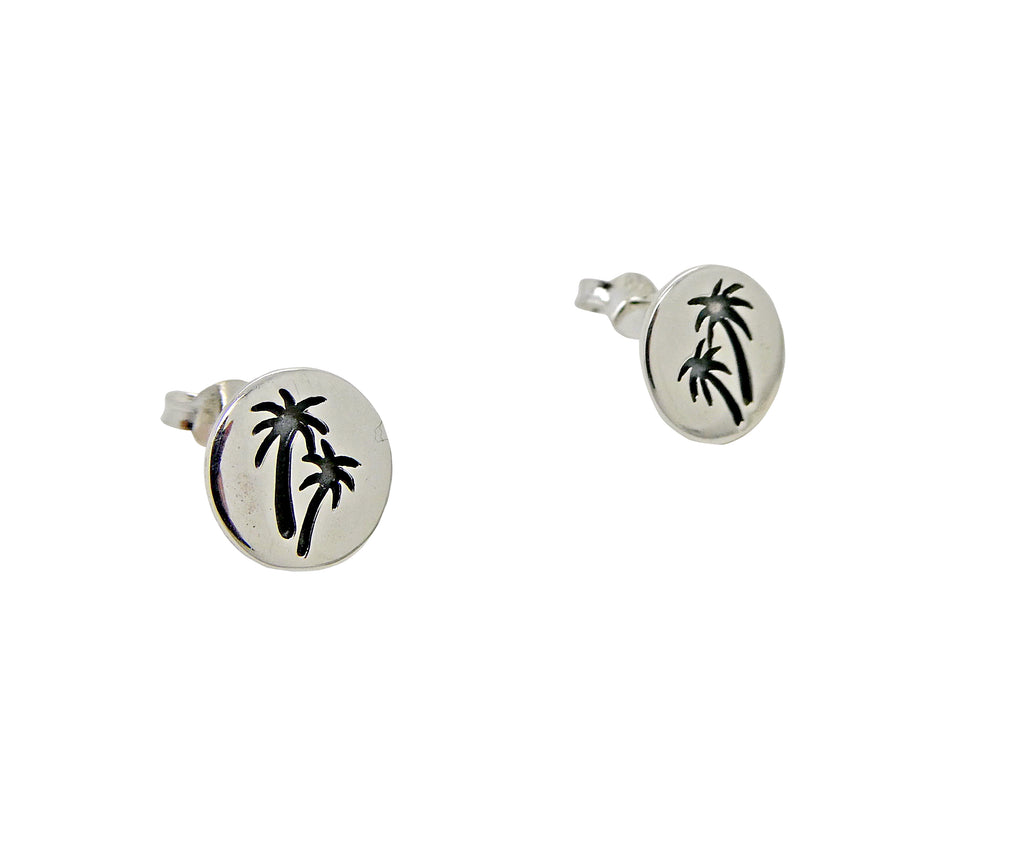 Palm Tree Studs Etched