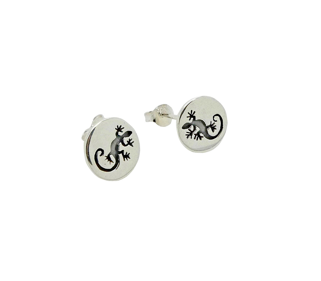 Gecko Studs or Earrings Etched