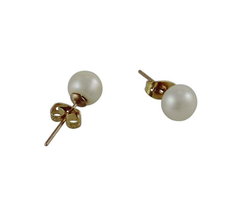 Freshwater Pearl Studs Rose Gold Fittings - 8mm