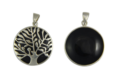 Reversible Tree of Life Onyx Black Pendant - Sm