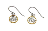 Turtle Studs or Earrings Silver Gold Edging