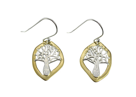 Boab Nut Tree Sterling Silver Earrings - Two tone silver and gold