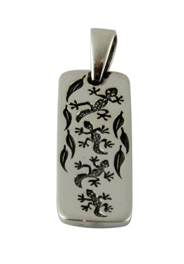 Gecko Etched Tag Pendant