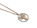 Boab Tree Pearl Pendant Two Tone Silver /  Rose Gold