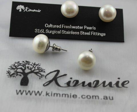 Freshwater Pearl Studs Stainless Fittings - 10mm
