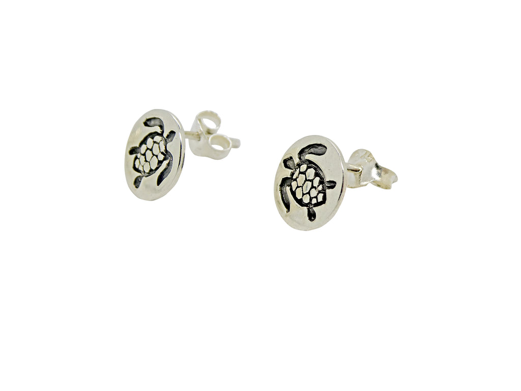 Turtle Studs or Earrings Etched