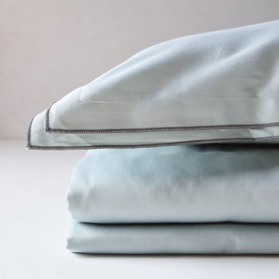 Waves Frosty Green Cotton Sateen Bed Sheet by Veda Homes