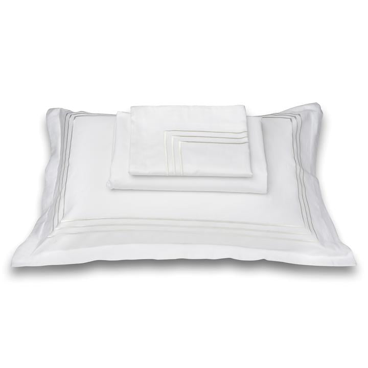 Parallel White Cotton Sateen Bed Sheet by Veda Homes