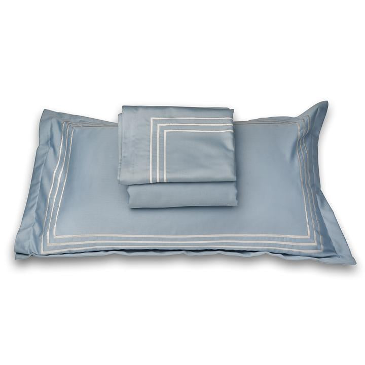 Parallel Powder Blue Cotton Sateen Bed Sheet by Veda Homes - Home Artisan