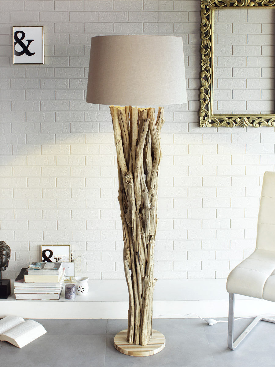 with floor lamp driftwood image brown cotton shade rustic abuja