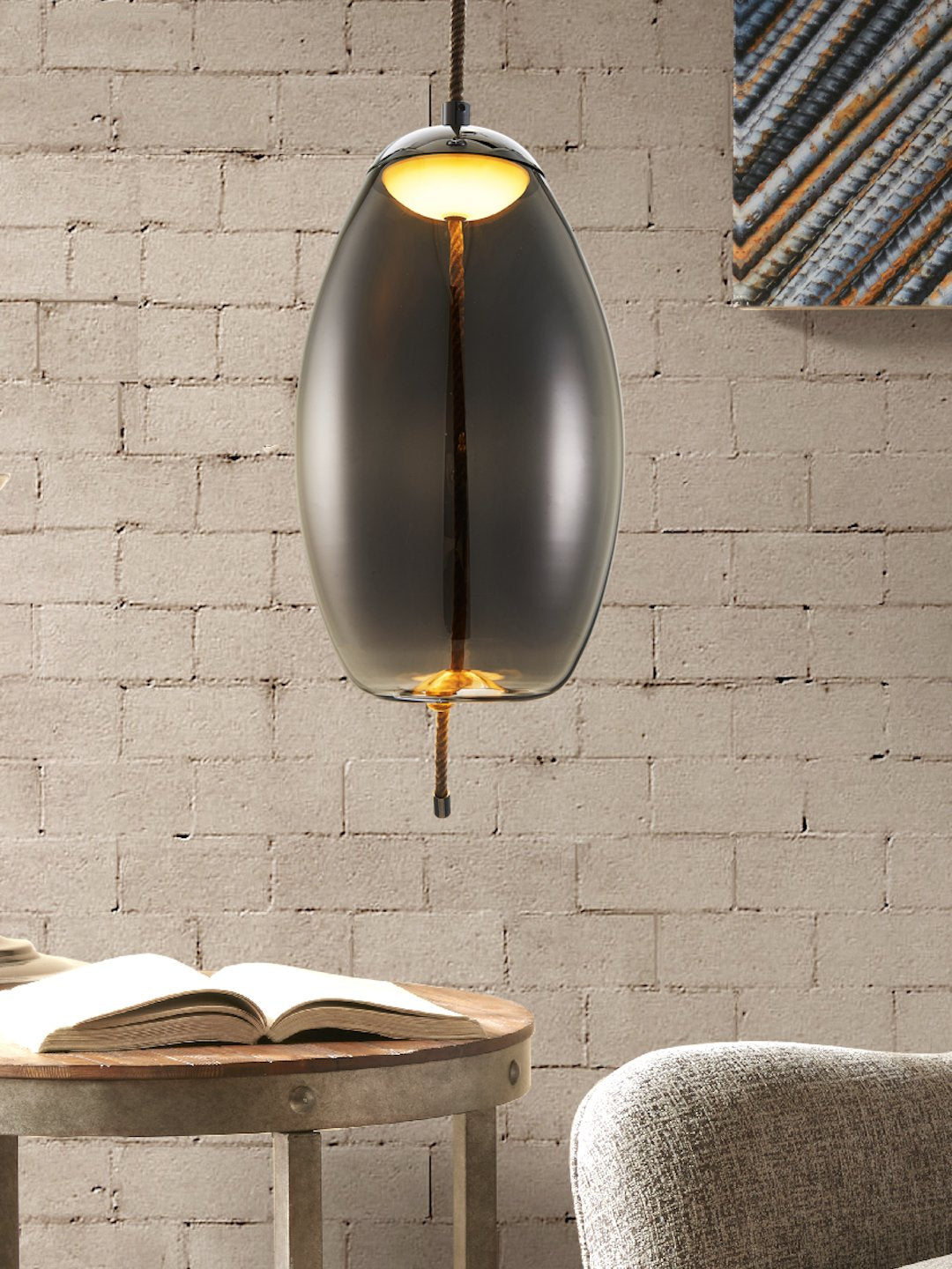 Kenneth Smoky Glass Pendant Lamp