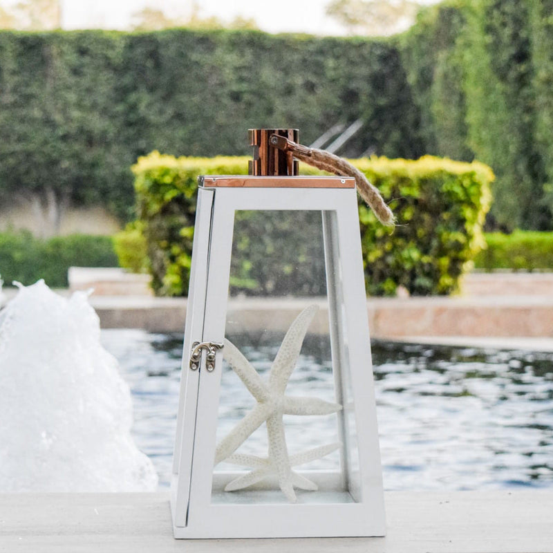 Arwen White and Rose Gold Wooden Lantern - Large