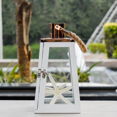 Arwen White and Rose Gold Wooden Lantern (Small) - Home Artisan_2