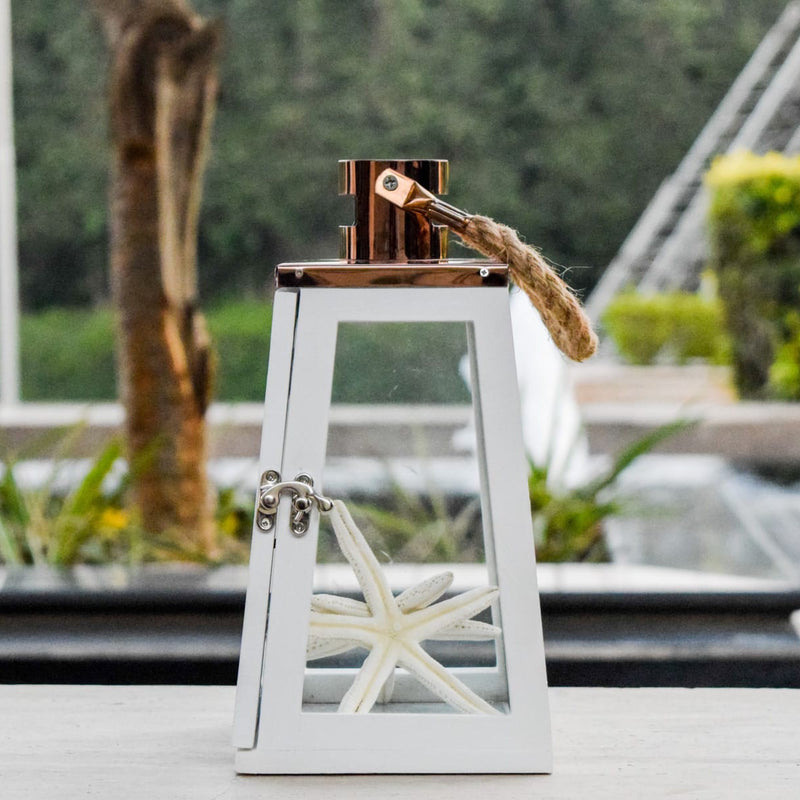 Arwen White and Rose Gold Wooden Lantern (Small) - Home Artisan_1