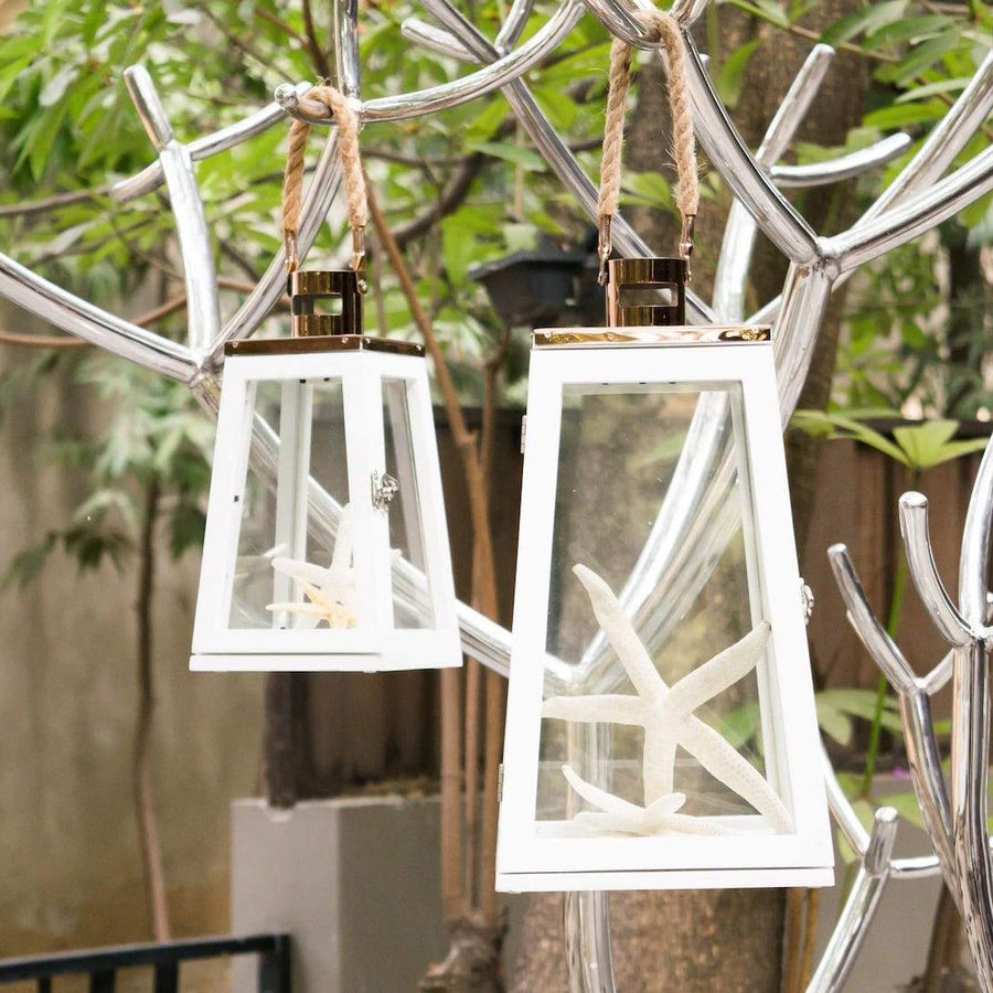Arwen White and Rose Gold Wooden Lantern (Large)